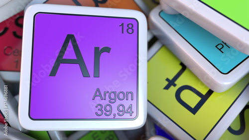 Photo Argon block on the pile of periodic table of the chemical elements blocks