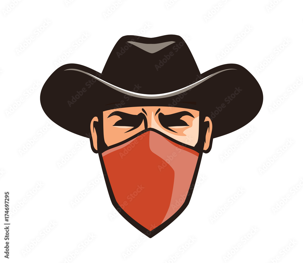 Fototapeta Angry thug in mask. Cowboy, robber, bandit in hat. Cartoon vector illustration