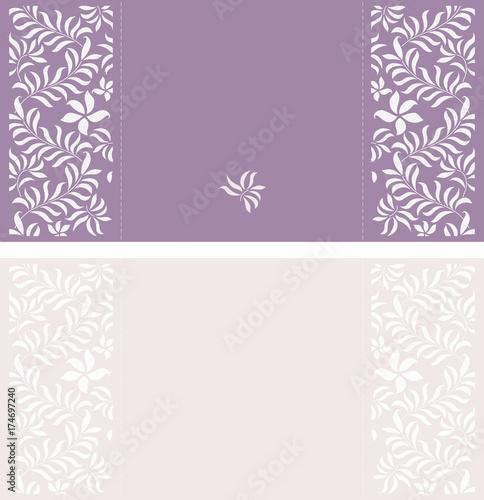 set of wedding invitation or greeting card in light violet color