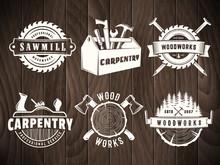 Woodwork Badges. Vector Logos For Carpentry, Sawmill, Lumberjack Service Or Woodwork Shop. Set Of Labels On Vintage Wooden Background.