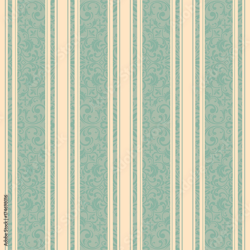 Foto op Canvas Kunstmatig Striped background . Vector line art seamless border for design template. Decorative element for design in Eastern style. Vintage pattern for invitations, greeting cards, wallpaper, linoleum, textile.
