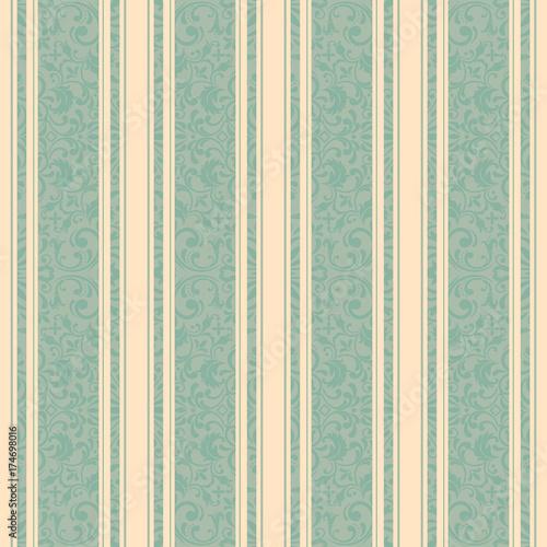 Motiv-Fußmatte - Striped background . Vector line art seamless border for design template. Decorative element for design in Eastern style. Vintage pattern for invitations, greeting cards, wallpaper, linoleum, textile.