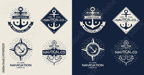 Fototapeta Inspirational themplate of Nautical Style Logo, Emblem Designs