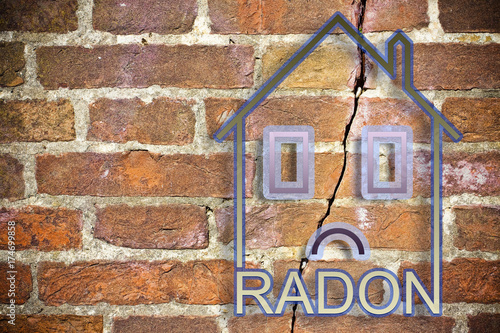 Vászonkép The danger of radon gas in our homes - concept image with copy space