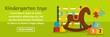 Kindergarten toys banner horizontal concept