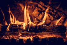 Wood In The Flames Of Cozy Fir...