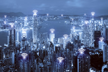 Wifi Icon And Hong Kong City W...