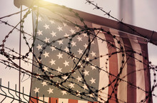 American Flag And Barbed Wire,...