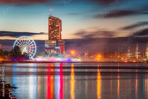 Obraz Night panorama of Gdynia - fototapety do salonu