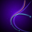 sparkling curved rays on a dark purple background