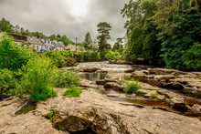 Falls Of River Dochart In Loch Lomond And The Trossachs National Park At Town Of Killin, Central Scotland