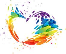 Splash Multicolor Heart On White