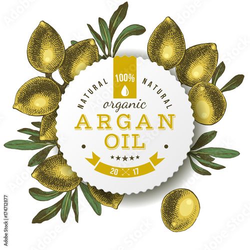 Photo Argan oil label with hand drawn nuts