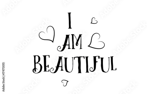 I Am Beautiful Love Quote Logo Greeting Card Poster Design Buy