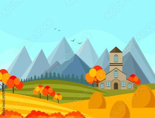 Keuken foto achterwand Turkoois Contryside autumn season with mountains background Vector