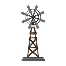 Windmill Countryside Icon Image Vector Illustration Design