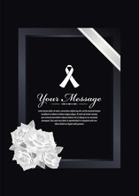 Funeral Card - White Ribbon Si...