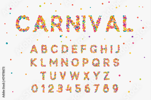 Foto Font set with letters from multi-colored round confetti.
