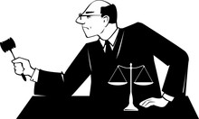 Male Judge With A Gavel Presid...