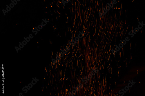Aluminium Prints Firewood texture sparks from fire
