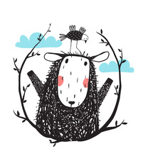 Funny Sheep And Bird Portrait ...
