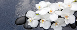Fototapeta Kuchnia - Still life with spa stones and white orchid.