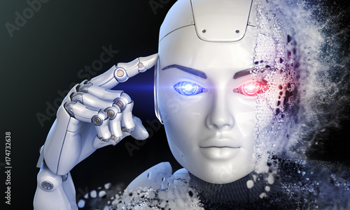 Thinking cyborg Canvas Print