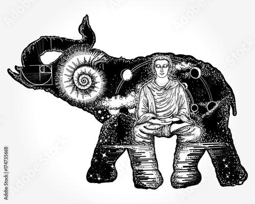 Line Art Animals Tattoo : Elephant tattoo art symbol of spirituality meditation yoga