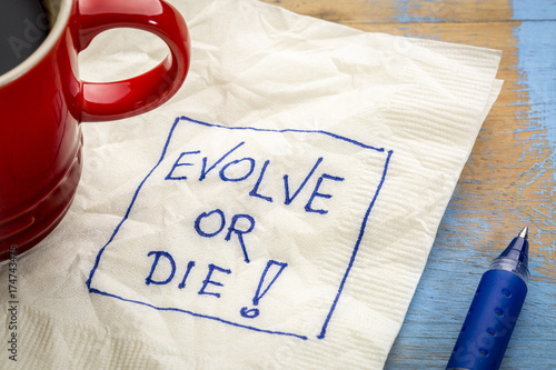 Photo Evolve or die napkin doodle