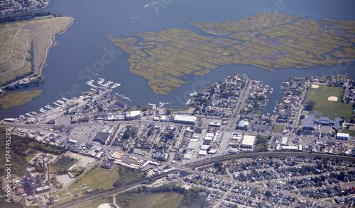 Obraz na dibondzie (fotoboard) Widok z lotu ptaka dzielnicy Island Park Long Island, Nowy Jork,