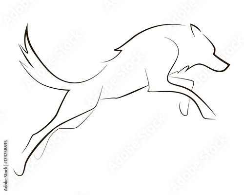 Running black line wolf on white background Canvas-taulu
