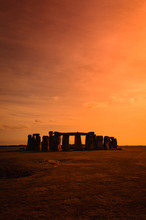Standing Stones At Stonehenge, Wiltshire, England During Sunset