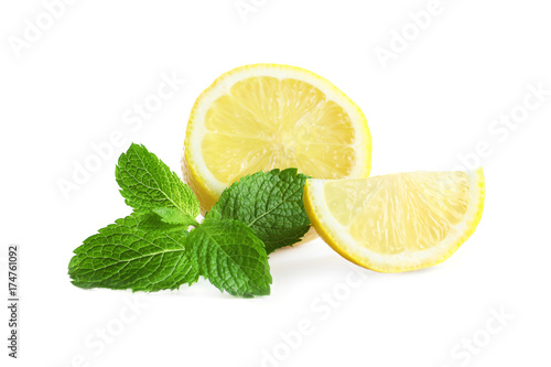 Fresh lemon and mint on white background