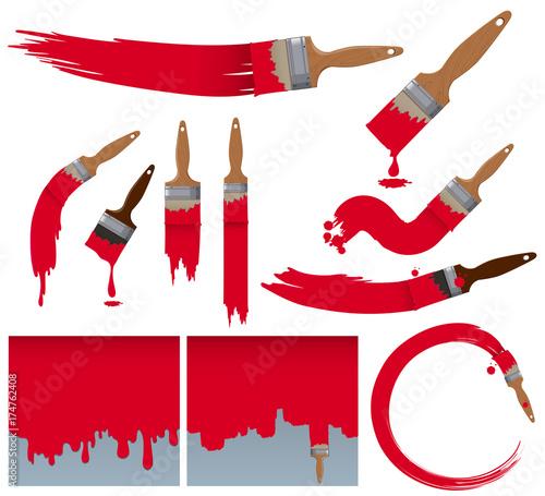 Different brushstrokes of paintbrush in red Fototapet