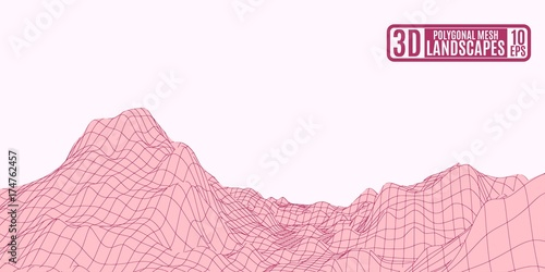 Garden Poster maroon polygonal mountains on a pink background