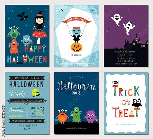 cute halloween cards vector illustration