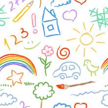 Children Doodle Sketch Seamles...