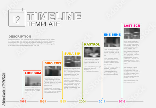 Colorful Stair-Step Timeline Infographic Layout  Buy this stock