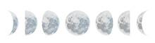 Moon Phases Dot Vector Backgro...