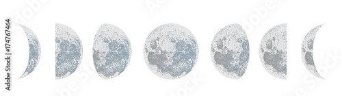 Photographie  moon phases dot vector background