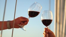 Two Crystal Glasses With Wine ...