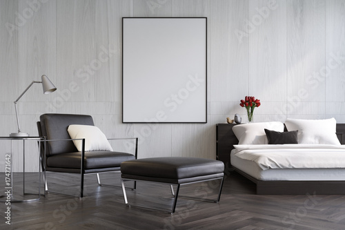 Foto op Aluminium Wand White wooden bedroom, armchair and poster