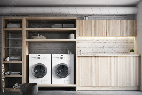 Fotografie, Obraz  White and wooden laundry room interior close up