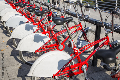 Red rental bicycles