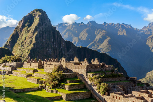 View from the top to old Inca ruins and Wayna Picchu, Machu Picchu, Urubamba pro Canvas Print