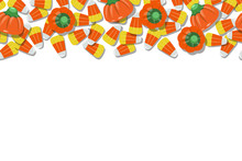 Candy Corn And Pumpkins Top Background Repeating Horizontal Vector Illustration 1