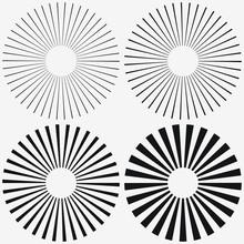 Sunburst Element. Starburst, Radial Stripes. Set Of Ray, Beam. Vector Illustration.