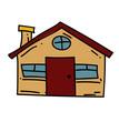 Farm house cartoon hand drawn image. Original colorful artwork, comic childish style drawing.