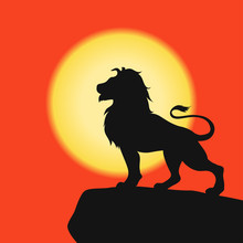 Lion On A Rock - Black Silhoue...