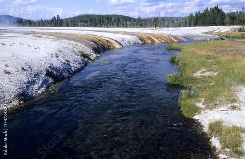 Fototapeten Wasserfalle Iron Spring Creek, Yellowstone National Park, Wyoming, USA, North America